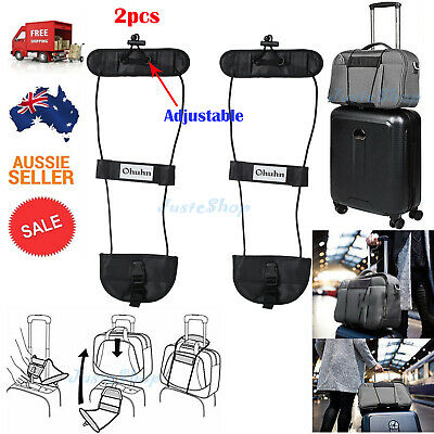 2Pcs Adjustable Bag Bungee Travel Luggage Suitcase Belt Add A Bag Strap Carry On