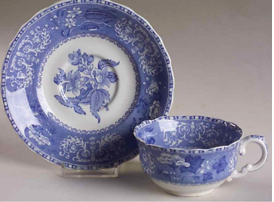 SPODE Camilla Blue Tea cup & Saucer - Flat Cup & Saucer Set Old Blue Mark