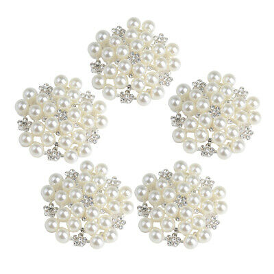 5pcs Pearl Diamante Crystal Flower Buttons Flat Back DIY Craft Embellishment
