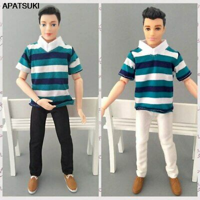 1/6 Boy Doll Clothes Blue Striped T-Shirt & Trousers Pants For Ken Doll Clothes