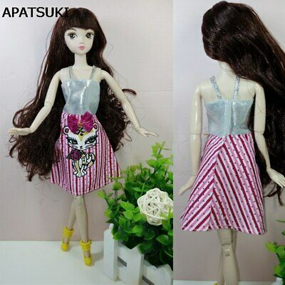 Silver Pink Sexy Cat Dolls Clothes Party Gown Short Dresses For 11.5in Doll