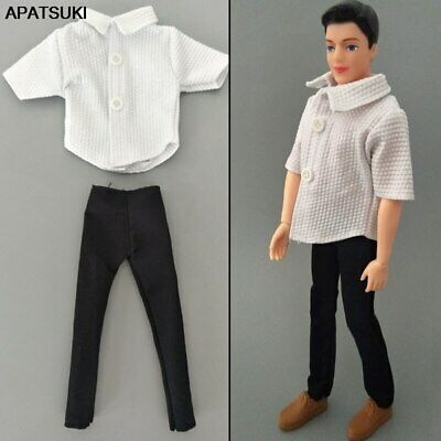 1/6 Boy Doll Clothes White Shirt & Black Trousers Pants For Ken Doll Clothes