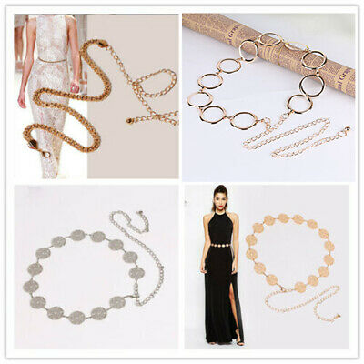 Women Metal Chain Belt Adjustable Gold Silver Ladies Fashion Elegant Waistband