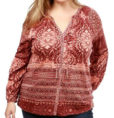 Lucky Brand NEW Red Womens Size 1X Plus Split Neck Printed Blouse $49 331