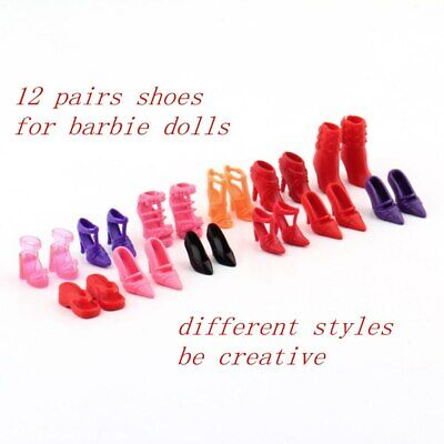 Set of 12 Pairs Fashion Dolls Shoes High Heels Sandals Slippers For 11.5in Doll
