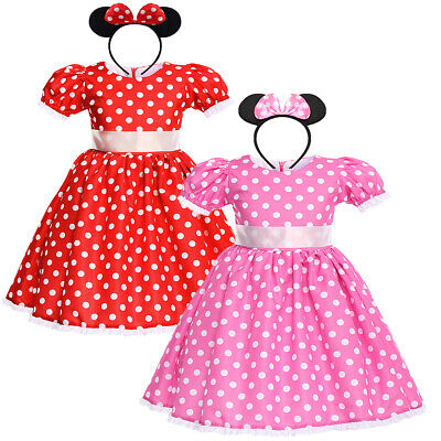 Minnie Mouse Polka Dot Fancy Dress Cosplay Costume for Kids Girls Birthday Party