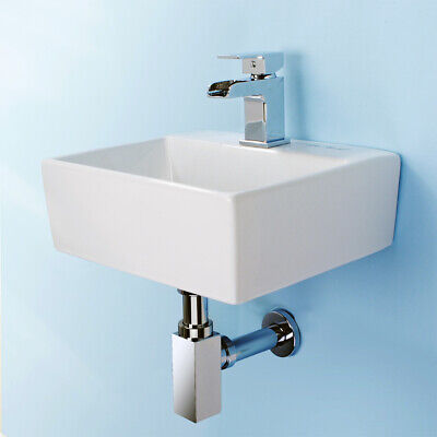 Small Bathroom Sink Wall Mount Cloakroom Hand Basin Square Bowl With Waste Kit