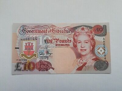 Gibraltar 10 Pounds 1995  Pick 26  Unc