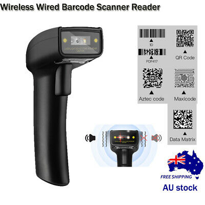 2 in 1 Wireless Wired Barcode Scanners 1D 2D QR Bar Code Reader for Windows Mac