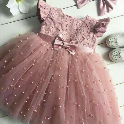 Flower Girl Princess Dress Kid Baby Party Wedding Summer Tulle Tutu Pearl Dress