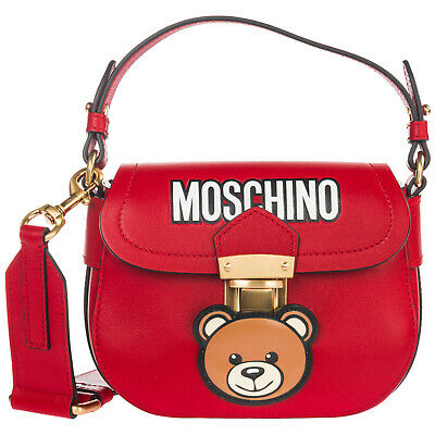 Moschino Women's Leather Cross-Body Messenger Shoulder Bag Teddy Red 04C