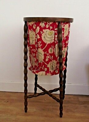 Very Old Antique French Turned Wood Frame Fabric Lined Wool Catcher Basket 1054