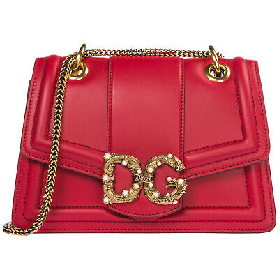 Dolce&Gabbana Women's Leather Shoulder Bag New Original Dg Amore Red 303