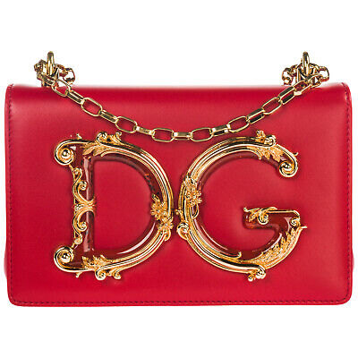 Dolce&Gabbana Women's Leather Shoulder Bag New Original Dg Girls Red A27