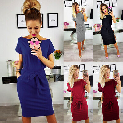 UK Womens Summer Casual T-Shirt Dress Ladies Blouse Short Sleeve Bandage Dress