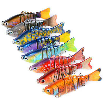 3.9'' 7 Segment Minnow Swimbait Fishing Lures Crank Bait Crankbait Hooks Tackle