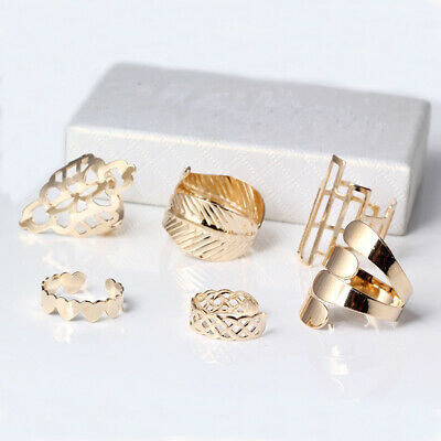 6pcs Set Personality Geometric Ring Knuckle Joint Ring Nail Ring Decor UK