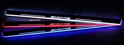 AMG RED Moving Welcome Light Door Sill Scuff Plate For Benz E-Series W207