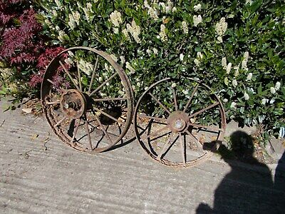 2 cast iron wheel vintage antique garden ornament feature barn find old