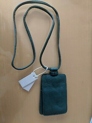 Cos green card holder strap lanyard leather NEW