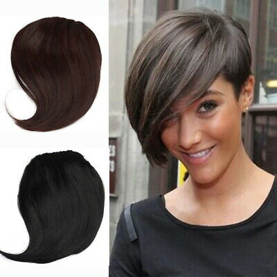 Short As Human Hair Extension Clip in on Fringe Front Halve Hairpiece Neat Bangs