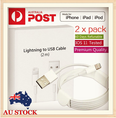 2X 2m Lightning Charging Cable Cord For Genuine Apple iPhone 5 6 7 S 8 X iPad AU