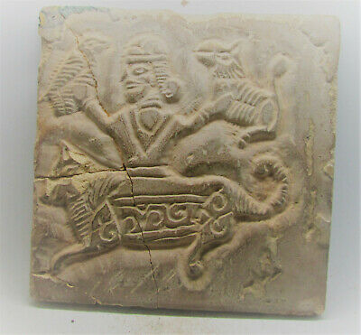 Very Rare Ancient Sasanian Stone Tile Warrior Fighting Off Beasts