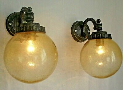 Pair Exterior Vintage Aged Metal Wall Lights Large Amber Glass Ball Shades 1213