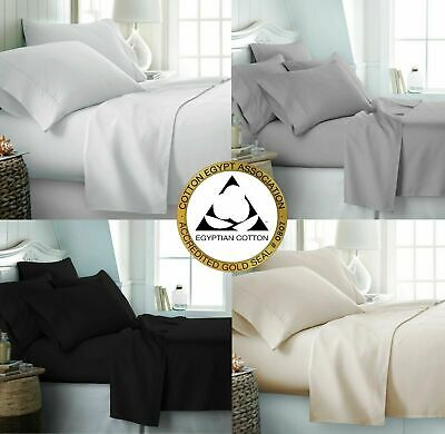 100% Egyptian Cotton 300 Thread Count Bedding Fitted Flat Sheet Duvet Quilt Set