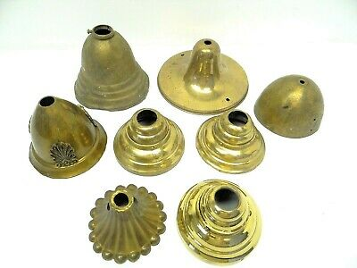 Antique Lot Old Victorian Brass Metal Dome Canopy Chandelier Lamp Lighting Parts