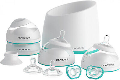 Nanobebe Baby Bottle Starter Set with Warmer and Pacifiers, Teal