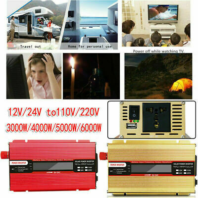 3000W-6000W Inverter DC12/24V To AC110V/220V Sine Wave Converter Car Solar Power