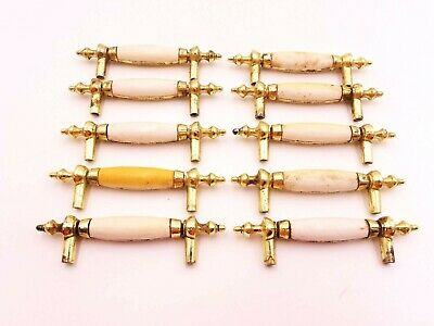 10 pc Lot White Dresser Drawer Handle Pull Furniture Hardware 5475 896 VTG Gold