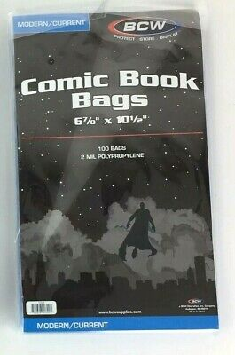 """100 BCW Current/Modern Comic Bags/Sleeves 6-7/8"""" x 10-1/2"""" New Sealed"""
