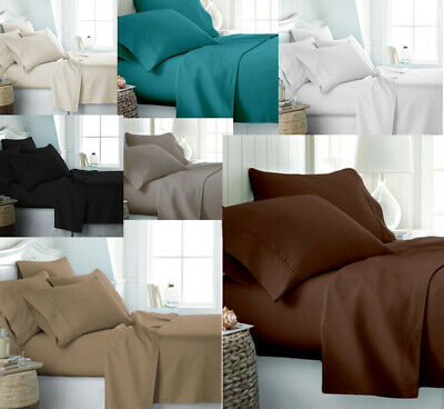 100% Egyptian Cotton 400 Thread Count Bedding Fitted Flat Sheet Duvet Quilt Set