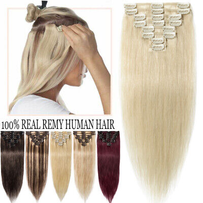 7A 8 PCS Clip In Real Remy Human Hair Extensions Full Head Clearance Long UK G87