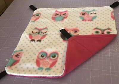 New Flat Fully Quilted Hammock For Rats+small Animals. OWLS + PINK FLEECE🦉