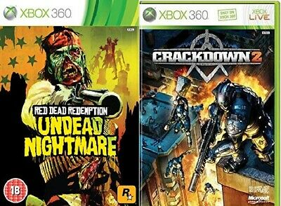 2X XBOX 360 Games RED DEAD REDEMPTION UNDEAD NIGHTMARE & CRACKDOWN 2
