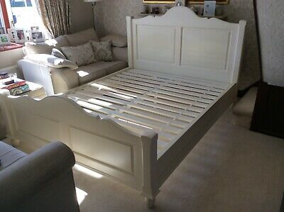 French Country Style Ivory Cream Wooden Bed - Kingsize