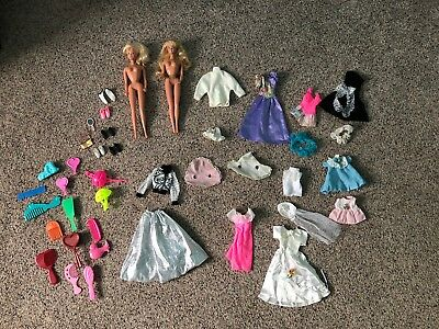 Huge lot of 43 Vintage Barbie, Barbie/ Doll Clothes, Hairbrushes and Assceories