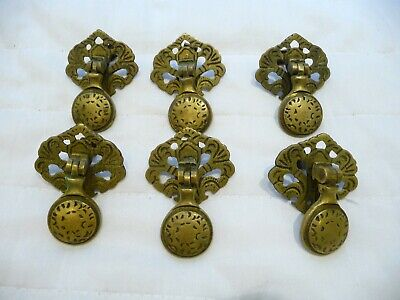 Antique X 6 Pretty Brass Chest/Draw Drop handles+Back Plate cabinet Knobs Pulls