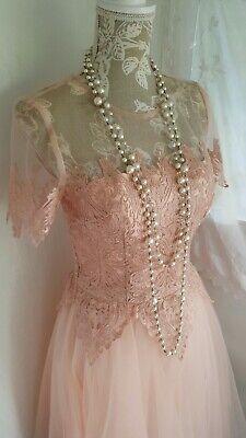 Vtge 1950's style pastel pink embroidered lace wedding prom dress size 12 uk