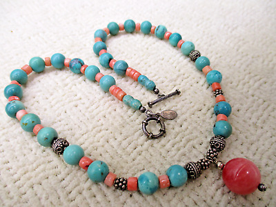 Vialet Semi Precious Gem Turquoise Coral Necklace High End Designer Jewelry Vtg