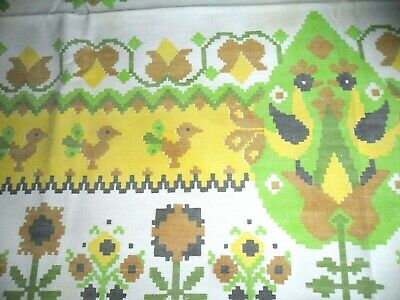 "Vintage Yellow Print -Roosters /Chickens/ Flowers Cotton Tablecloth-  50"" X 62"""