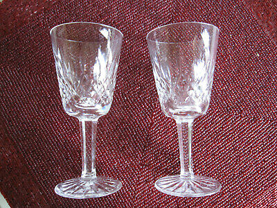 "TWO Vintage WATERFORD Crystal LISMORE White Wine Glasses 5 1/2"" Tall"