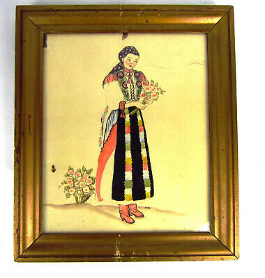 Vintage Russian Folk Art Watercolor Painting Signed Woman with Roses Framed