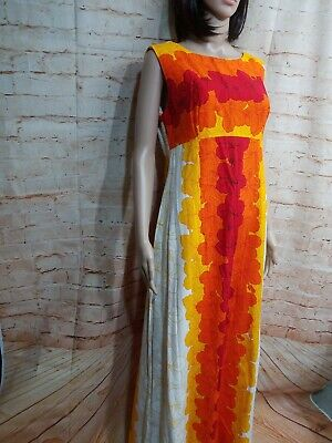 c4eeab8c55e2 Ui-Maikai Vintage Hibiscus Barkcloth Sleeveless Maxi Dress Hawaiian 1960's.