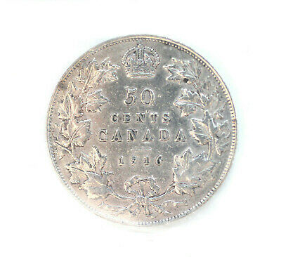 1916 George V 50 Cents CAN • ICCS Grade VF-20