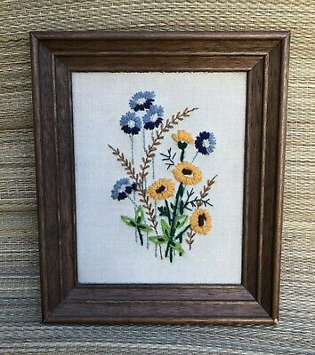 YARN ART Vintage MCM Crewel Embroidery FRAMED Needlepoint Hand Made Textile