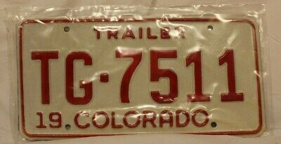 Vintage 1975 Colorado Unmarked NEW Trailer License Plate (TG-7511 / TG-7575)